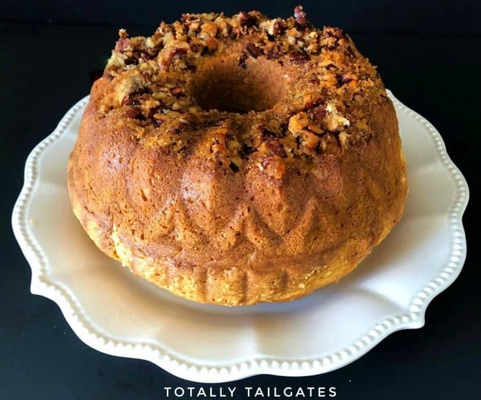 Circular Rum Cake with Pecans and Brown Sugar on Top