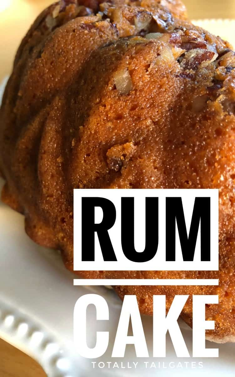 Rum Cake Recipe on a white serving dish with a close up shot of the side of the cake