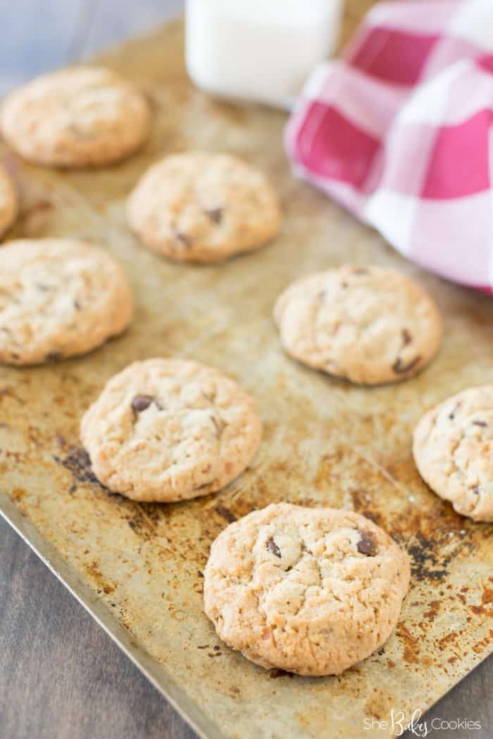 Coconut Chocolate Chips Cookies on a baking sheet cooling