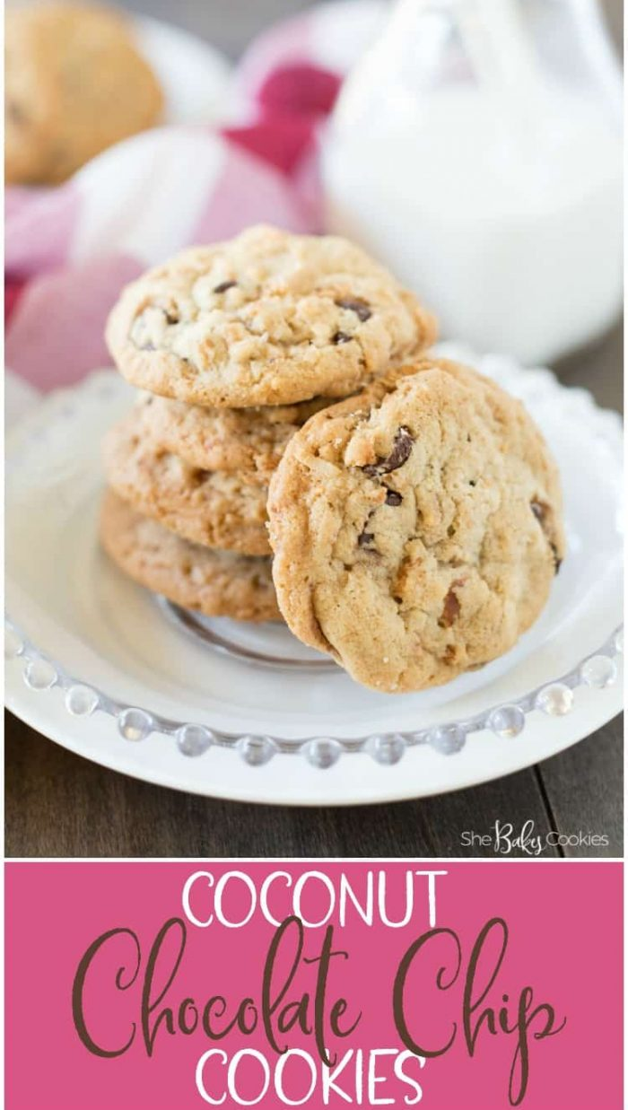coconut chocolate chip cookies stacked on a plate