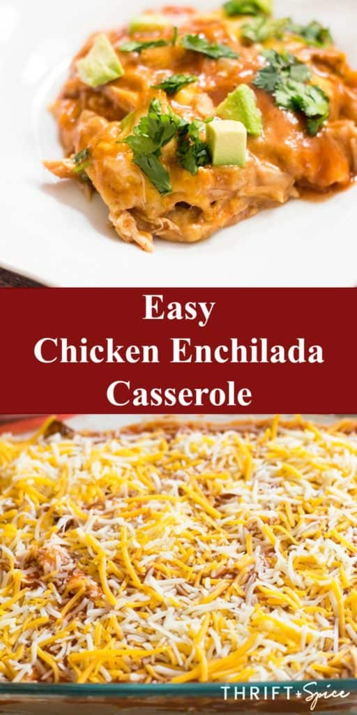 Easy Chicken Enchilada Casserole on a white plate topped with avocado and cilantro as well as the casserole in a baking dish before it is baked.
