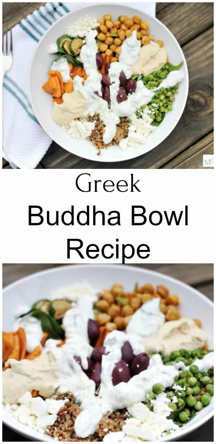 Greek Buddha Bowl Recipe in a white bowl with a fork next to it pictured from above as well as an up close picture of the Greek Buddha Bowl