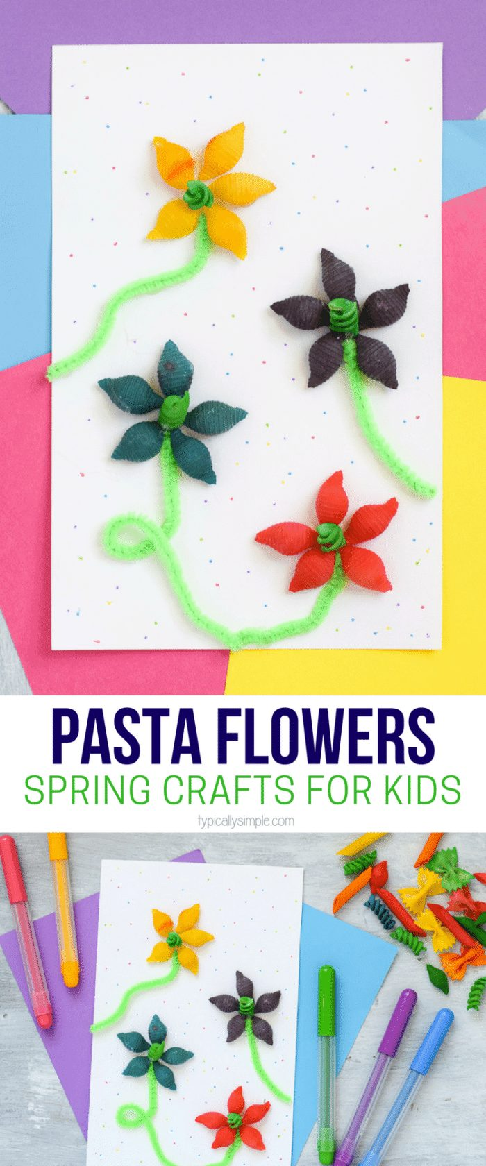 Spring Crafts for Kids using colorful pasta to make flowers with green pipe cleaners and a picture of all the supplies needed below it.