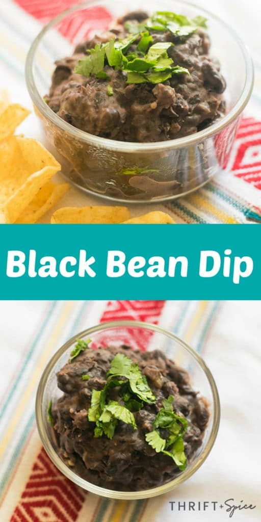 Black Bean Dip Recipe in a glass serving bowl topped with cilantro