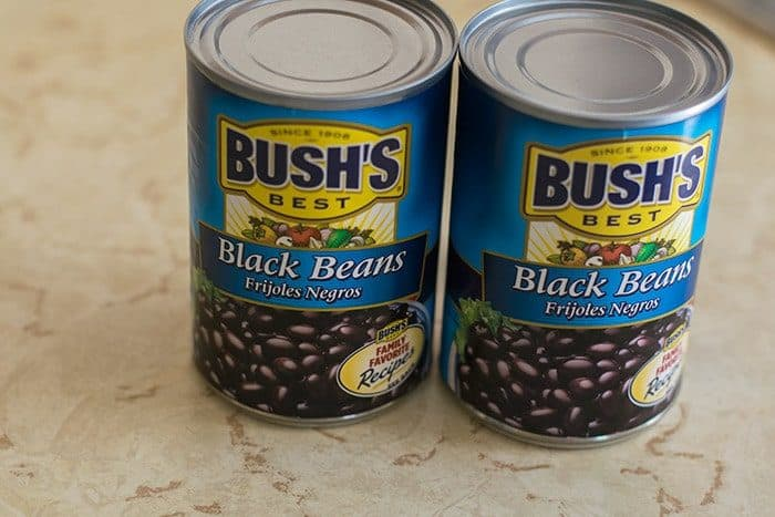 Two 15 oz cans of Bush's Black Beans for the Black Bean Dip Recipe