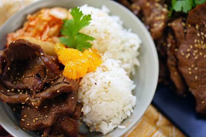 Korean BBQ Beef in a bowl with rice