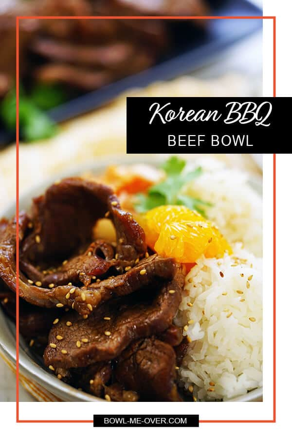 Korean BBQ Beef Bowl with beef, rice and pineapple