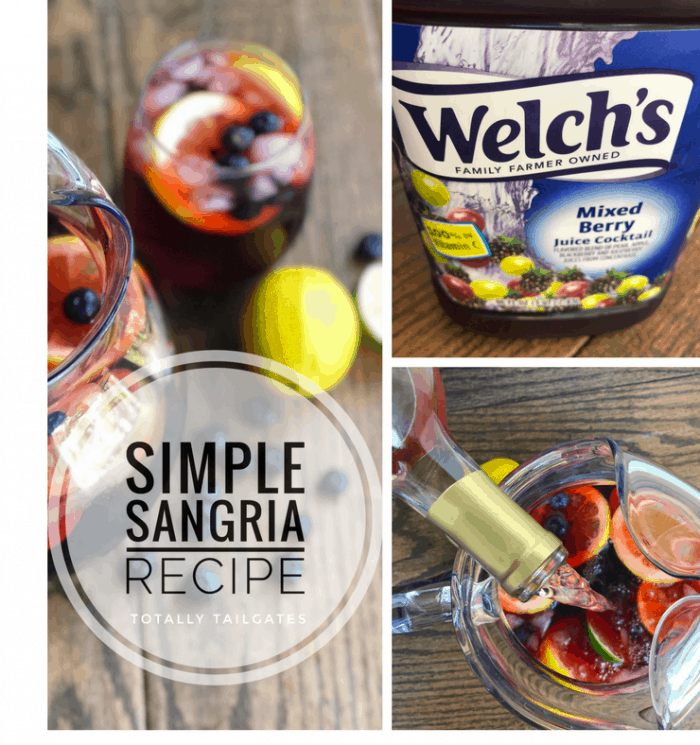 Simple sangria recipe with the wine being poured in, the pitcher completed and the welch's mixed berry juice
