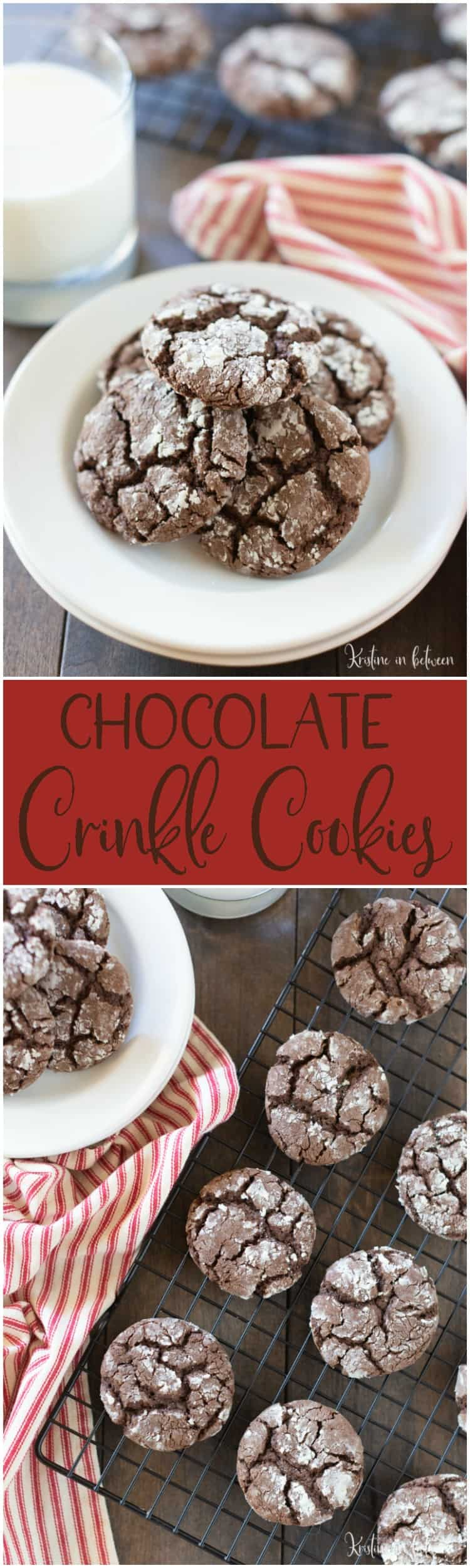 Chocolate crinkle cookies recipe on a white plate and a cooling rack
