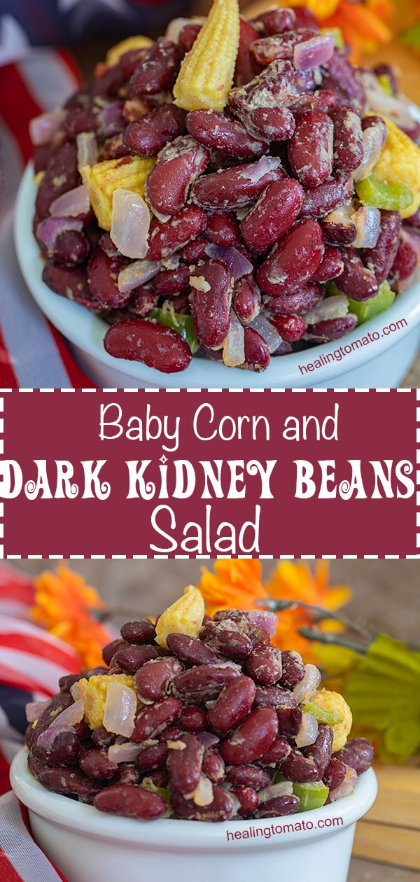 Dark Kidney Beans Salad up close and from the side.