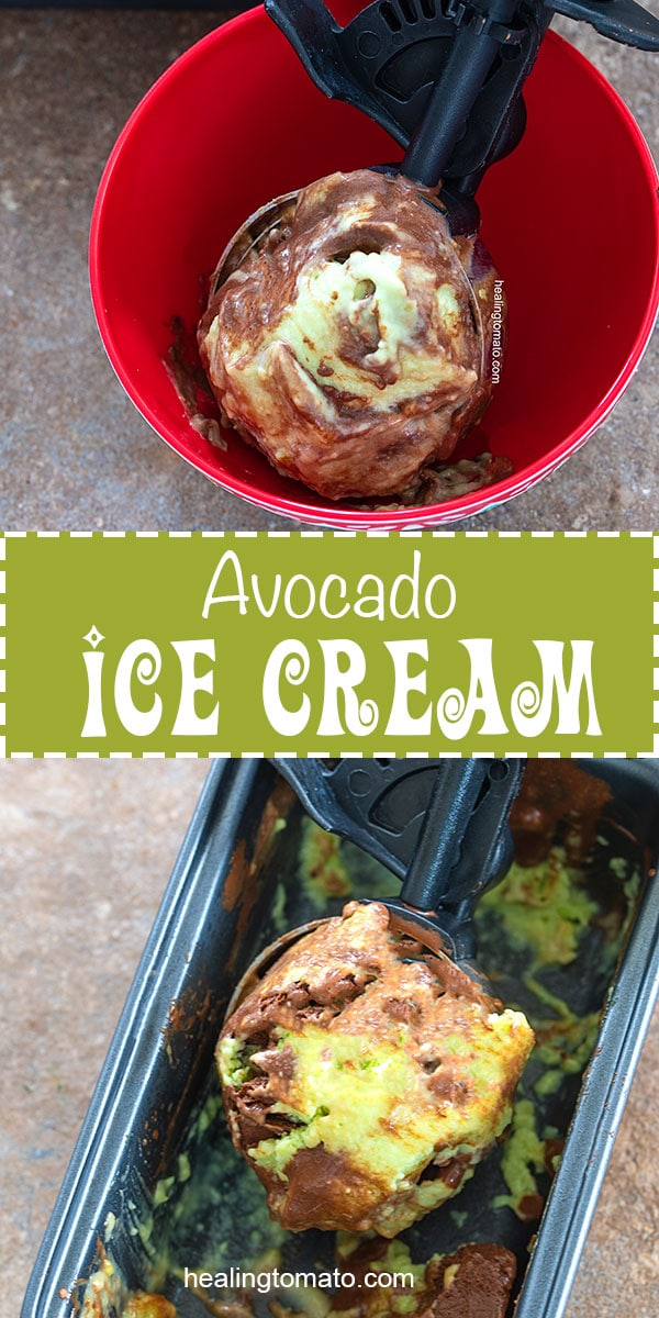 Avocado ice Cream with a scoop in a red bowl and in a serving dish