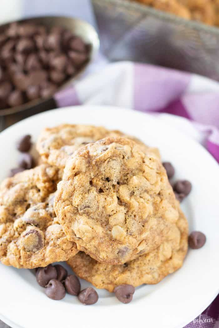 The best oatmeal chocolate chip cookies stacked on a white plate with chocolate chips around them