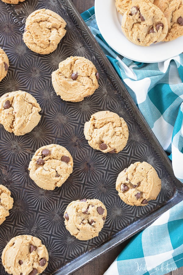 chocolate chip peanut butter cookies on a cookie sheet