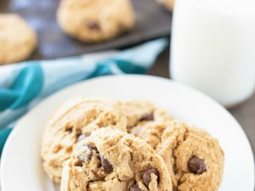 plate of peanut butter chocolate chip cookies and a glass of milk