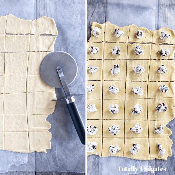 Dough on countertop cut into squares