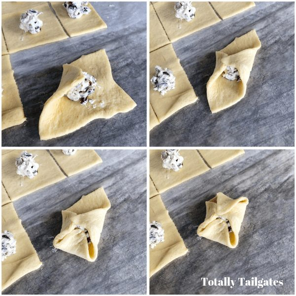 step by step of making cream cheese appetizers by folding present dough corners to the middle