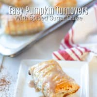 pumpkin turnover with spiced sugar glaze on a plate