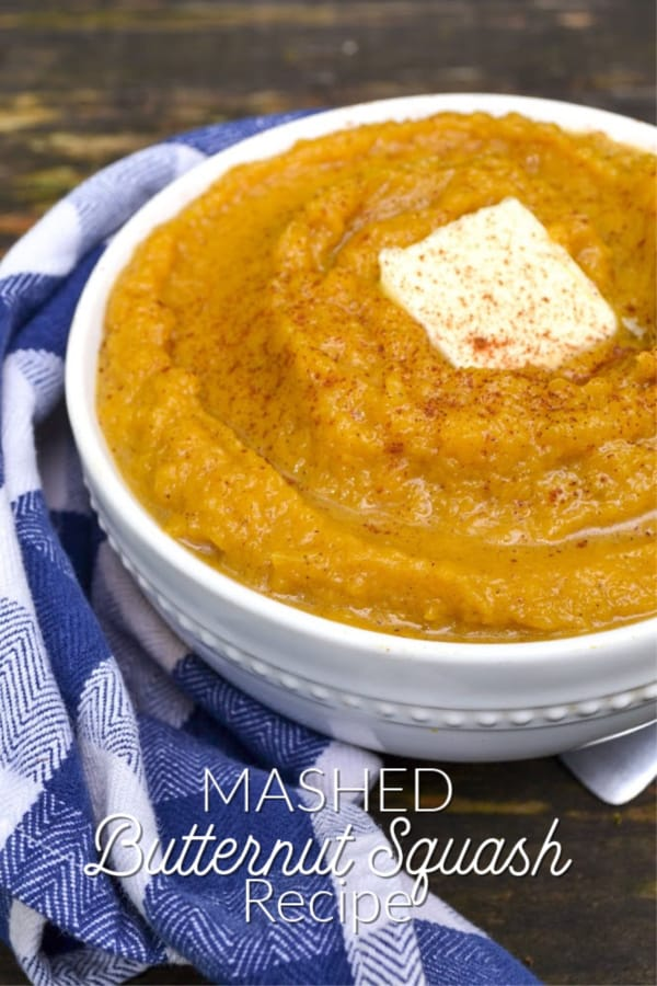 bowl of healthy mashed butternut squash with butter.
