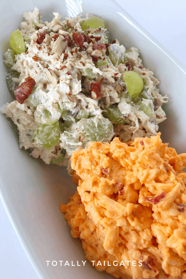 Chicken salad with grapes next to pimento cheese