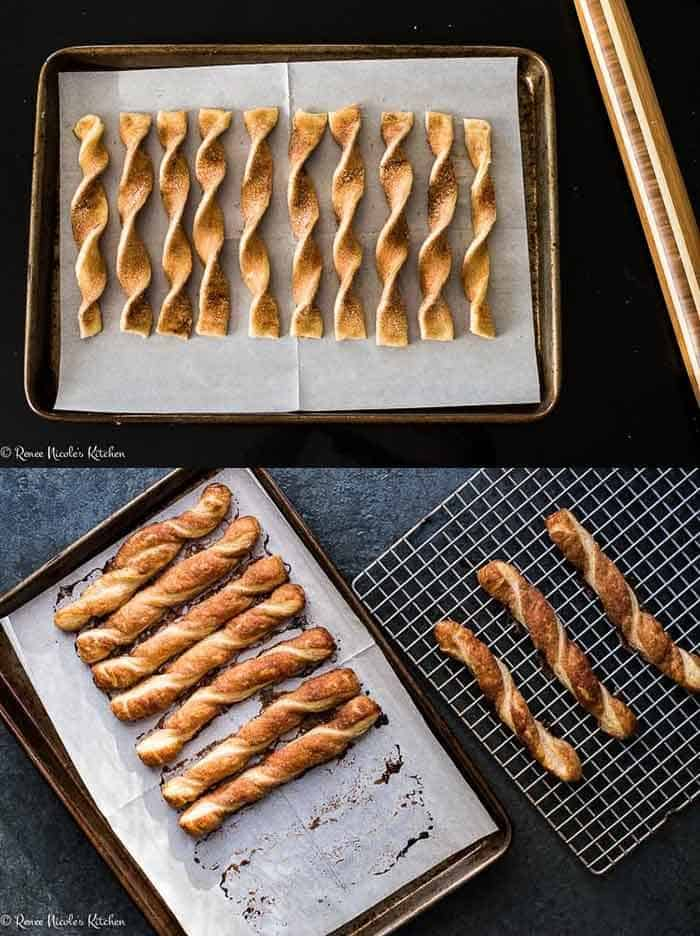 two pictures of cinnamon twists on a cookie sheet
