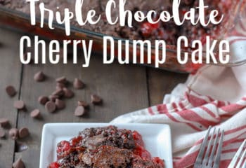 triple chocolate cherry dump cake on a white plate with forks to the right and chocolate chips and the rest of the dump cake in a baking dish behind it