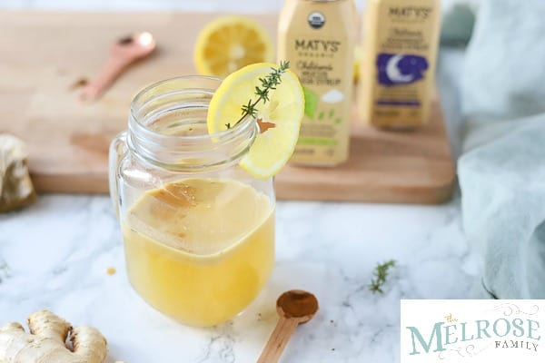 pineapple tea for coughs with Maty's products behind it