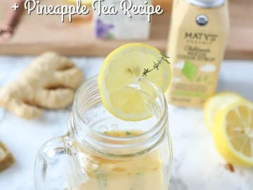 Natural remedies for cough on a marble countertop