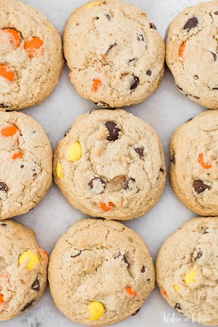 reeses peanut butter cookies on a baking sheet