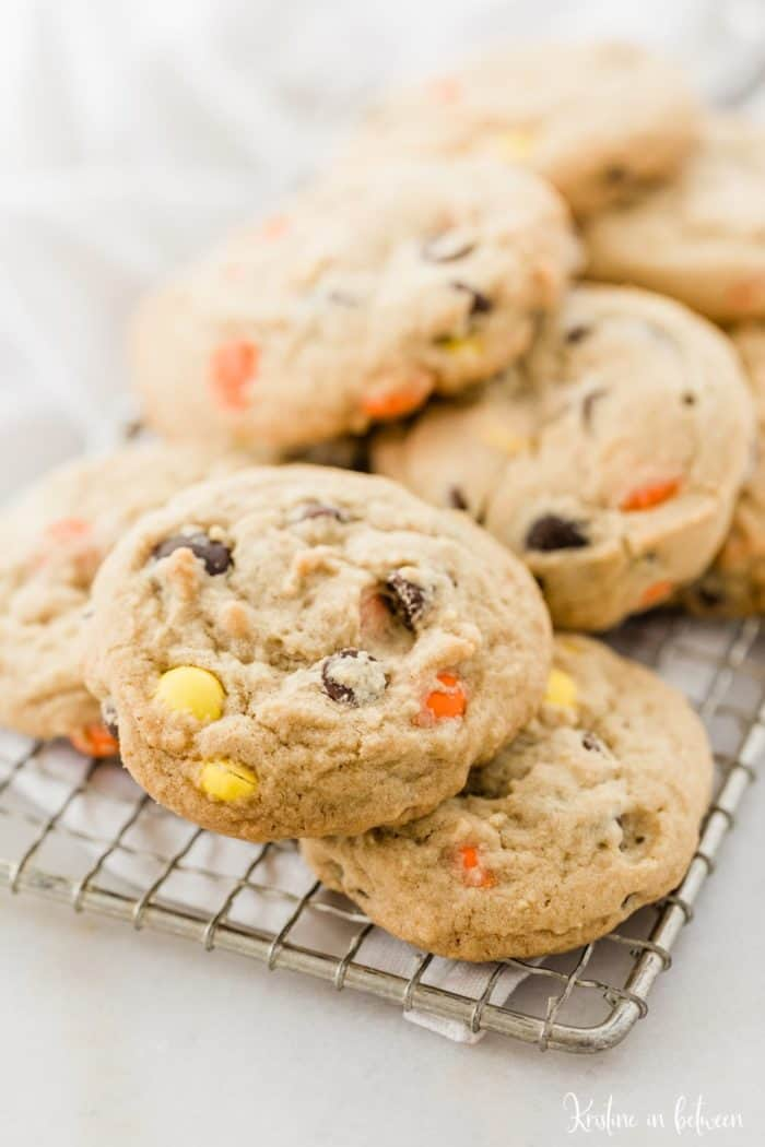 Reeses Peanut Butter Cookies on a baking rack