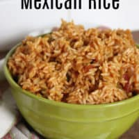 Instant pot Mexican rice in a green bowl on top a napkin