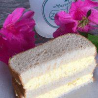 Egg Salad Sandwich cut in half on white bread