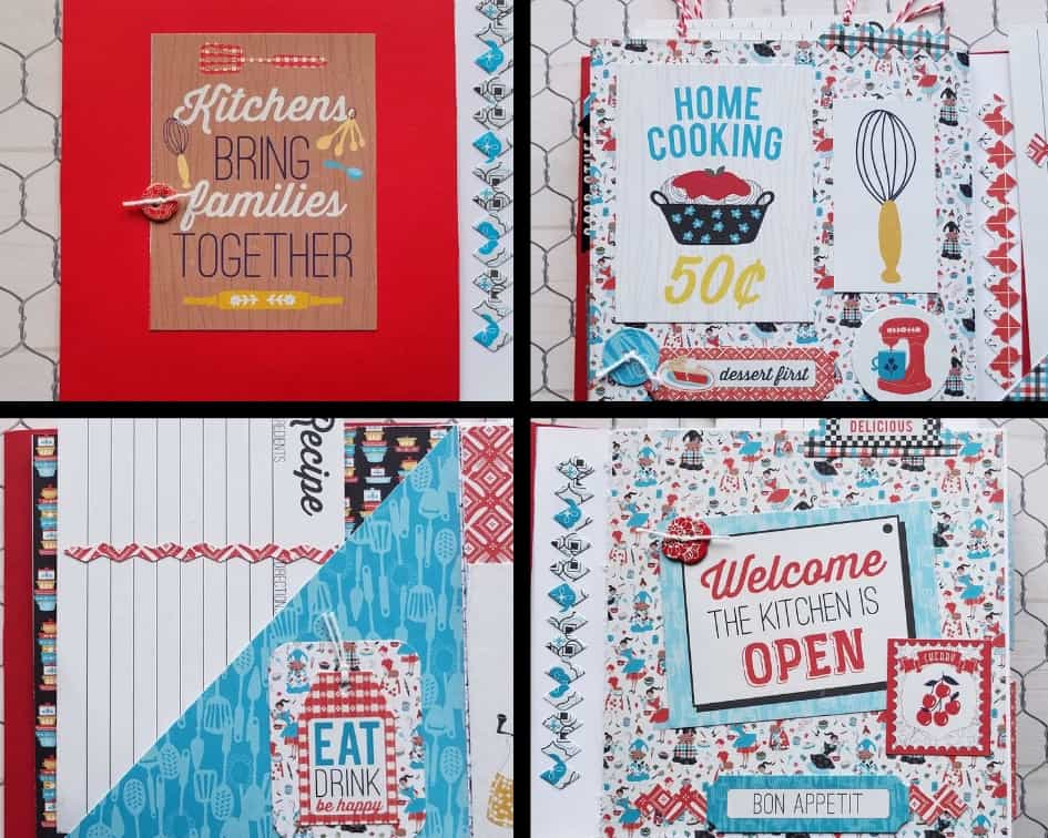 A collage of 4 recipe book pages