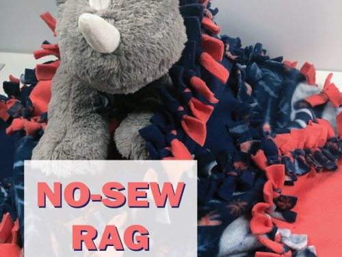 No sew rag quilt wrapped around a stuffed animal