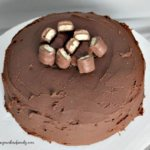 Twix cake with twix pieces on top