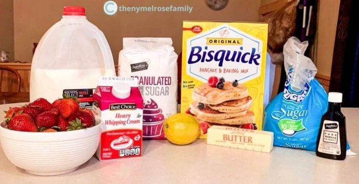 milk, strawberries, sugar, bisquick, lemon, whipping cream and vanilla extract