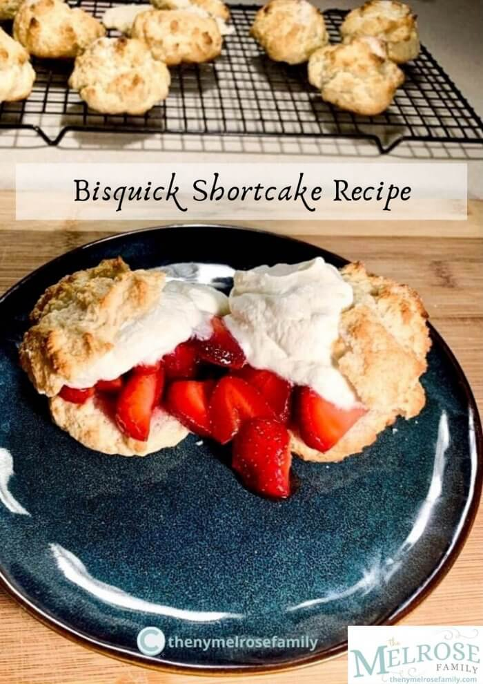 strawberry shortcake on a plate topped with whipped cream and oven rack of shortcakes