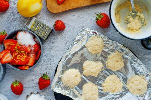 Bisquick Shortcake dough pieces