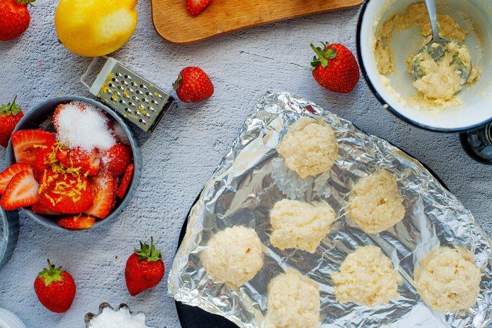 Shortcake dough pieces