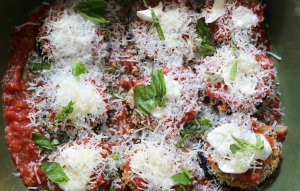 Eggplant parmesan casserole sprinkled with cheese