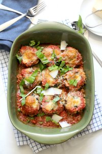 Eggplant parmesan casserole fresh from the oven in a baking dish