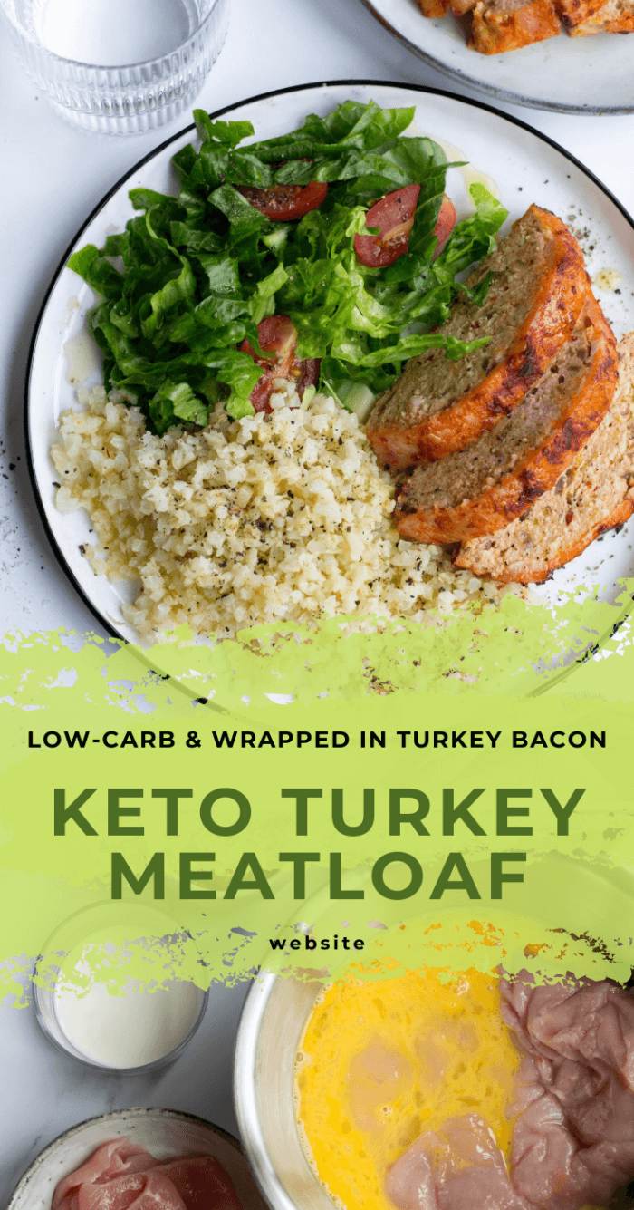 Bacon wrapped keto meatloaf on a plate with rice and salad. Below is the raw meatloaf soaking in egg mixture with other ingredients nearby