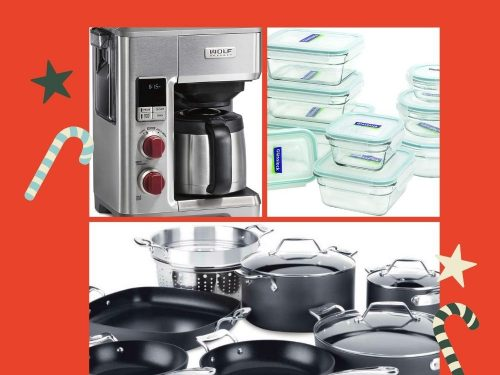 The Best of Everything featuring a coffee maker, storage containers and pots and pans