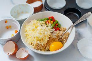 Quinoa bites ingredients in a bowl