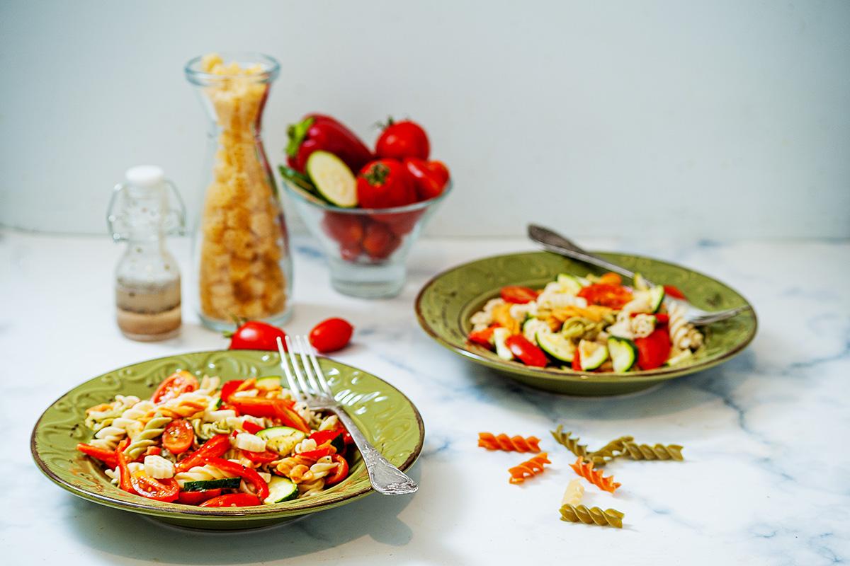 2 bowls of Christmas pasta salad