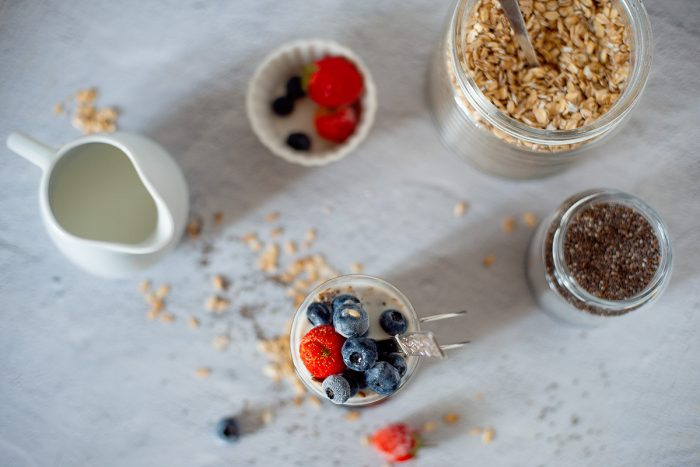 ingredients for making mixed berry oats