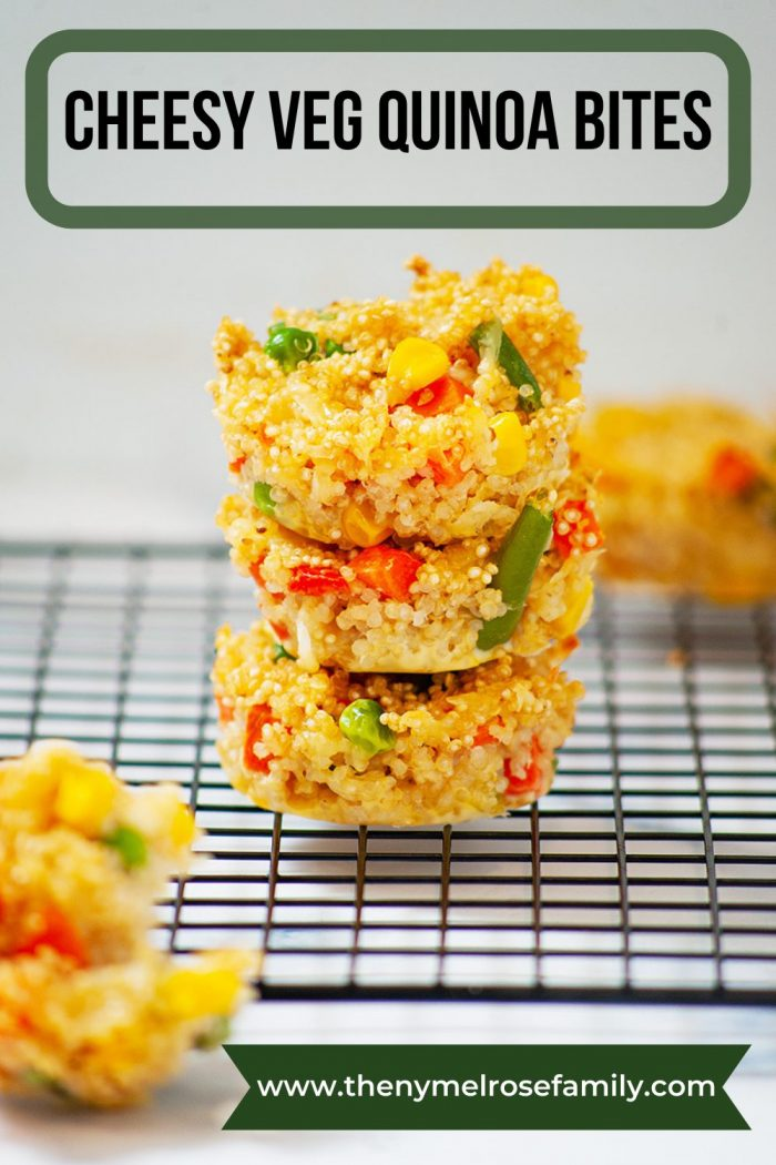 3 cheesy veg quinoa bites stacked on one another on a cooling rack