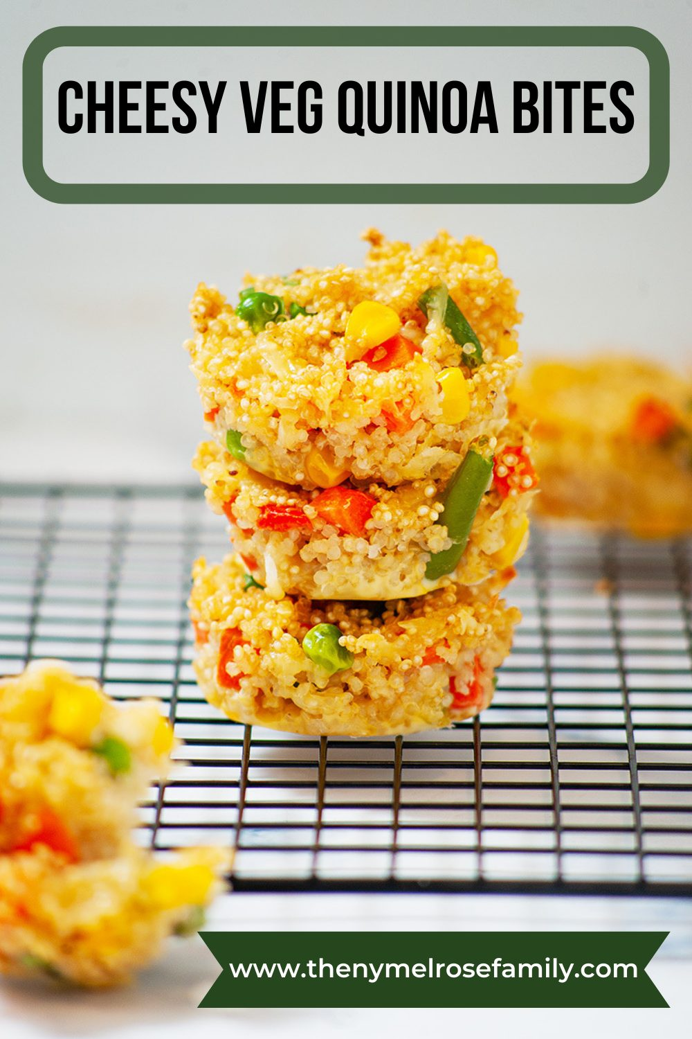 These cheesy veg Quinoa bites make for a healthy yet tasty snack. So go ahead and enjoy guilt free snacking. #healthy #veg #healthyrecipes #quinoa #nymelrosefamily via @jennymelrose