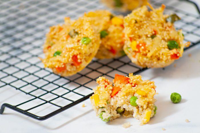 cheesy veg quinoa bites on cooling rack