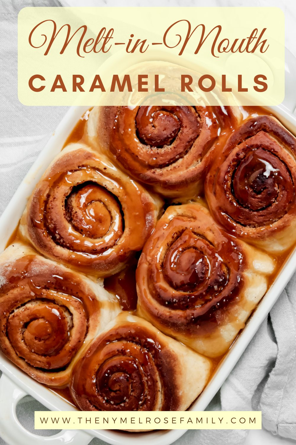 These melt-in-your-mouth golden caramel rolls are easy to make and will be the best breakfast you will ever have. #caramelrolls #holidaybreakfast #dessertrecipe #homemade via @jennymelrose
