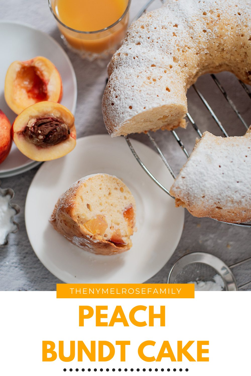 This beautiful peach bundt cake is a perfect summertime dessert. Easy to make and loaded with goodness of fresh peaches. #peachbundtcake #cakerecipes #summertime #nymelrosefamily via @jennymelrose